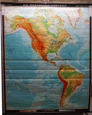 map of the American Continents wall chart poster