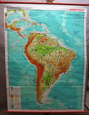 rollable map vintage wallchart South America