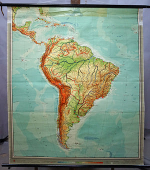 vintage map rollable poster wall chart South America