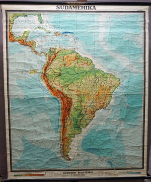 vintage map rollable wall chart South America