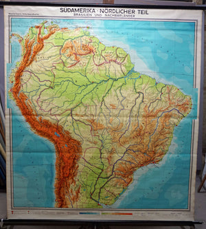 vintage rollable map wall chart South America Brasilia and neighbour states