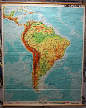 South America rollable map vintage wall chart poster print