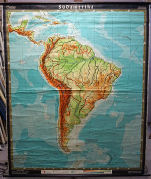old school map vintage poster wall chart South America
