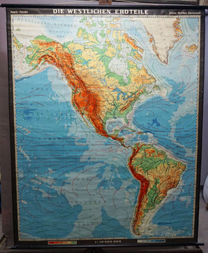 map of the Western part of the world America North Middle South wall chart