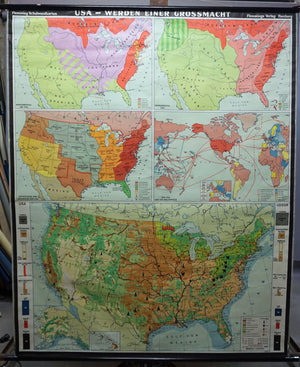 vintage map US history rollable wall chart poster