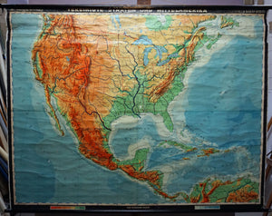 map of North America rollable wall chart USA Canada Mexico