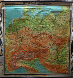 vintage map Germany Central Europe wall chart poster