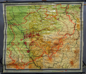 vintage map rollable wall chart Northrhine Westphalia poster