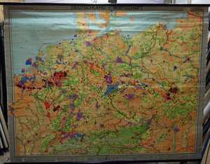 vintage rollable map German economy wall chart poster
