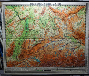 vintage rollbable map wall chart poster South Germany