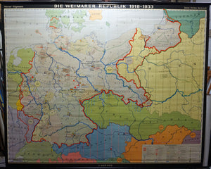 vintage history wall chart map Weimar republic 1918-1933