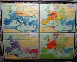 vintage history map from the Roman Empire to the Carolingian Empire