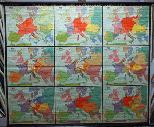 vintage rollable map 1000 years of occidential history wall chart
