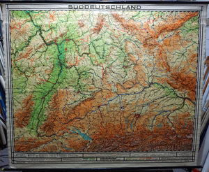 vintage poster rollable map South of Germany wall chart