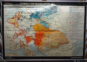 rollable vintage map Austria Prussia until 1795 wall chart poster