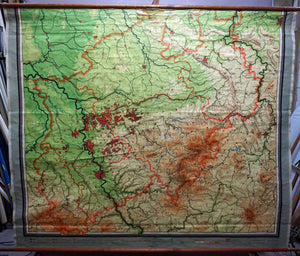 vintage rollable map North Rhine Westphalia wall chart