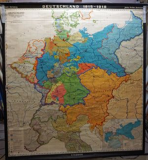 vintage rollable map European history 18. century wall chart