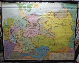vintage history map Germany 1945-1970 wall chart poster print