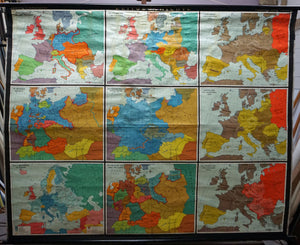 vintage map European history 1900-1945 rollable wall chart