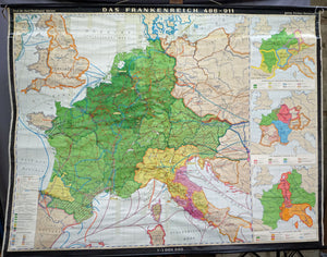 vintage map European history 486-911 rollable wall chart