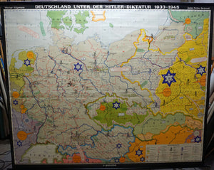 vintage map German history 1933-1945 Hitler rollable wall chart