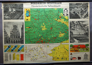 vintage German picture map wall chart Muensterland North Rhine- Westpahlia