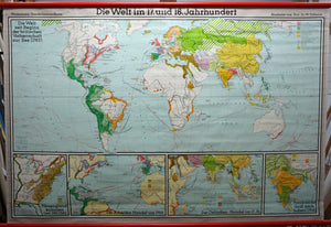vintage history world map 17. & 18. century rollable wall chart