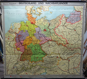 vintage rollable map Germany Europe wall chart poster