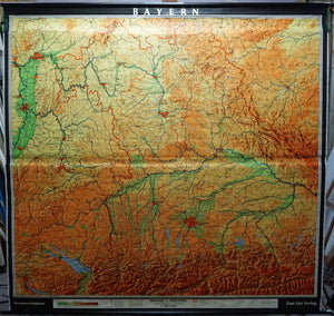 vintage rollable map Bavaria wall chart poster print