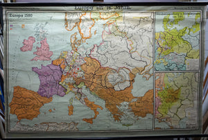 vintage history map Europe 16. century rollable wall chart poster