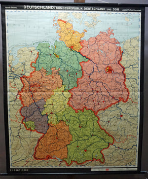 vintage map of Germany rollabe wall chart poster print
