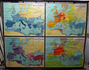 wall chart map from the Roman Empire to the Carolingian Empire