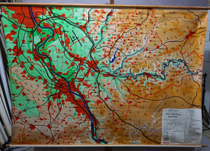 vintage German map Rhine Sieg district city Bonn