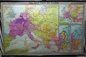 the empire of Charlemagne rollable map vintage wall chart