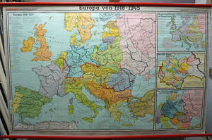 European history map 1918-1945 rollable wall chart poster