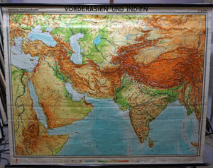 Middle East India map rollable wall chart vintage poster
