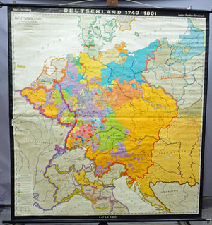 vintage map German history 1740-1801 rollable wall chart