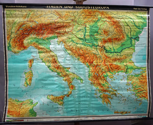 Italy South East Europe rollable vintage map wall chart