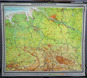 vintage German map Lower Saxony rollable wall chart
