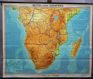 vintage rollable map Middle and South Africa wall chart