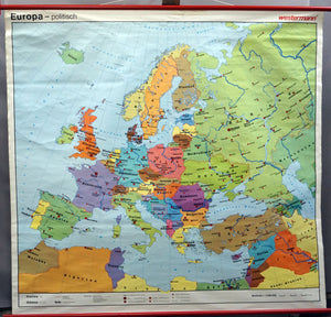 vintage rollable map Europe European countries wall chart
