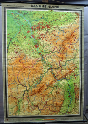 vintage German map Rhineland rollable wall chart