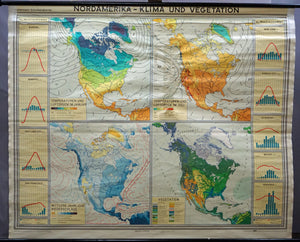 vintage map climate vegetation North America rollable wall chart
