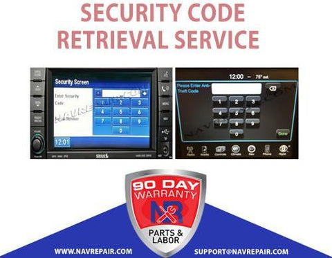 Uconnect Mygig Security Code Retrieval Service - NavRepair.com