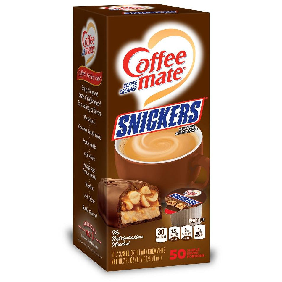 COFFEEMATE Liquid Snickers Coffee Creamer - 50 Pack