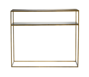 Metal console table w. shelf, 35x100xH85 cm, honey gold