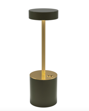 TakeMe I battery table lamp, olive/brass