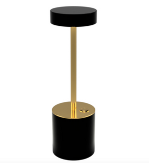 TakeMe I battery table lamp, black/brass