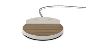 Station C - Wireless Charger, Dual USB Charging, Wood/Beige