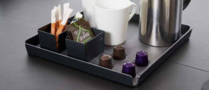 TEA&COFFEE TRAY M Anthracite, 2 bowls, BULL black